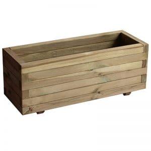 jardinera rectangular de madera