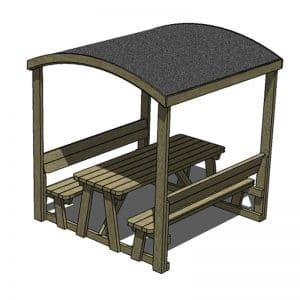 mesa picnic con techo